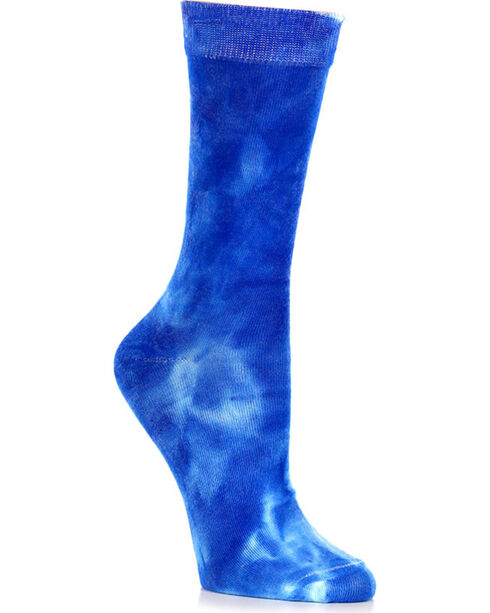 Shyanne Women's Blue Tie-Dye Crew Socks , Blue, hi-res