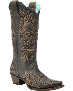Corral Vintage Chocolate and Gold Cowgirl Boots - Snip Toe , , hi-res