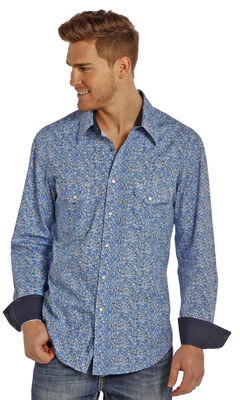 Rock and Roll Cowboy Men's Blue Swirl Two Pocket Snap Western Shirt, , hi-res