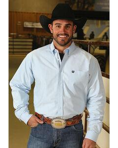 Cinch Men's Classic Fit Solid Oxford Weave Western Button Down Shirt, Light/pastel Blue, hi-res