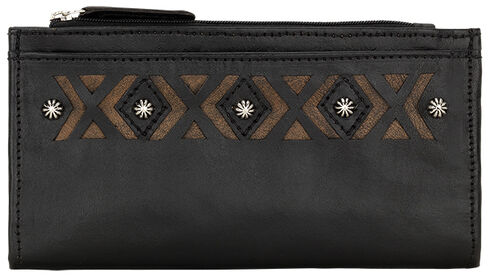 American West Women's Black Southwestern Foldover Snap Closure Wallet , Black, hi-res