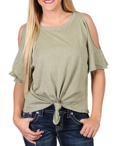 Others Follow Women's Cold Shoulder Tie Front T-Shirt, Olive, hi-res