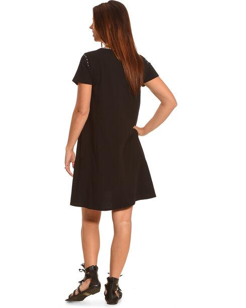 Johnny Was Women's Christine Woven Short Sleeve Panel Dress, Black, hi-res