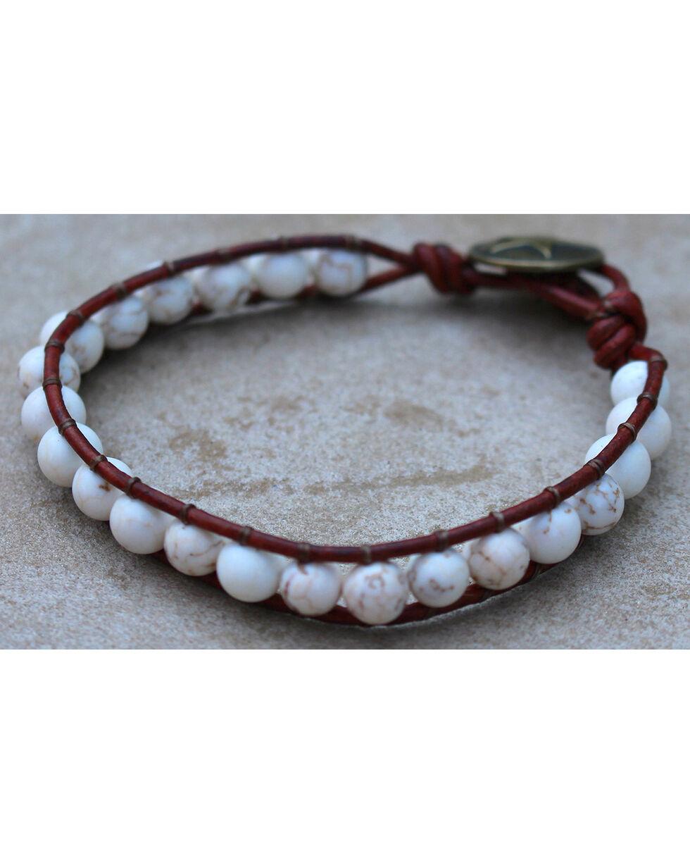 InspireDesigns Women's Brown Gemstone Threaded Wrap Bracelet , Brown, hi-res