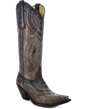 Corral Studded Overlay Cowgirl Boots - Snip Toe, Brown, hi-res