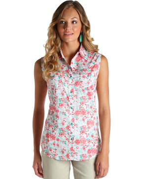 Wrangler Women's Coral Floral Print Sleeveless Top , Coral, hi-res