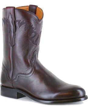 El Dorado Men's Black Cherry Vanquished Calf Roper Cowboy Boots - Round Toe, Black Cherry, hi-res