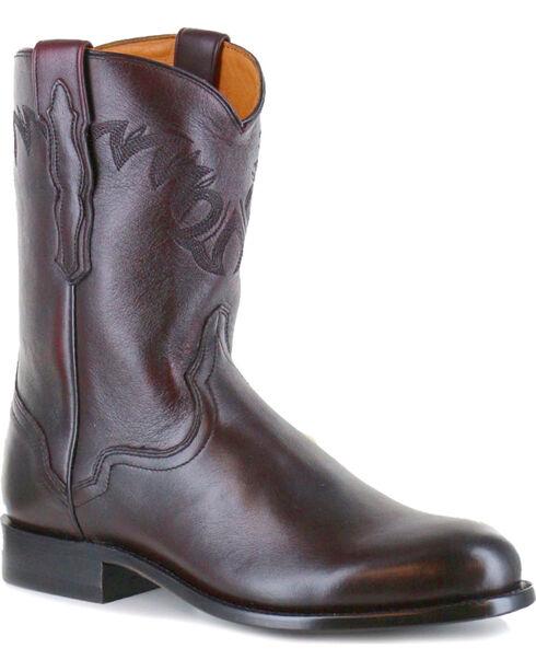 El Dorado Men's Handmade Black Cherry Vanquished Calf Roper Cowboy Boots - Round Toe, Black Cherry, hi-res