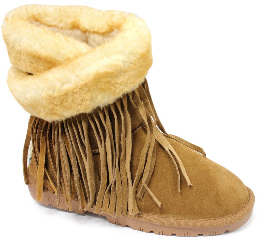 Lamo Footwear Women's Fringe Wrap Boots, Chestnut, hi-res