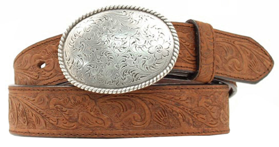 Double S Floral Embossed Oval Tooled Buckle Leather Belt, Med Brown, hi-res