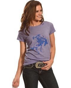 Bohemian Cowgirl Women's Short Sleeve Distressed Cowboy Tee, Blue, hi-res