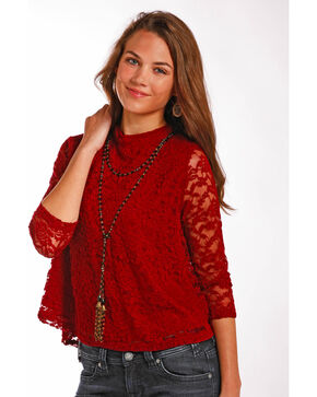 Panhandle Women's Stretch Lace Top, Red, hi-res