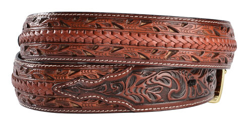 3D Tooled Filigree with Lacing Leather Belt, Multi, hi-res