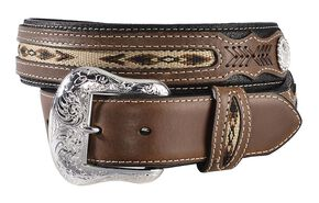 Nocona Ribbon Inlay Leather Belt - Reg & Big, Black, hi-res