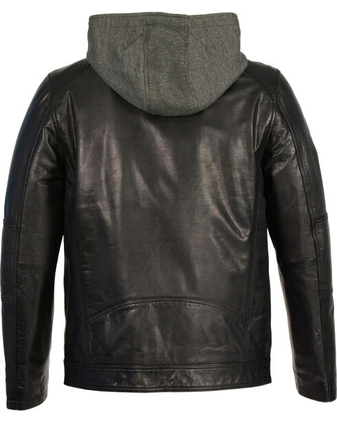 Milwaukee Leather Men's Snap Collar Leather Moto Jacket w/ Removable Hood , Black, hi-res