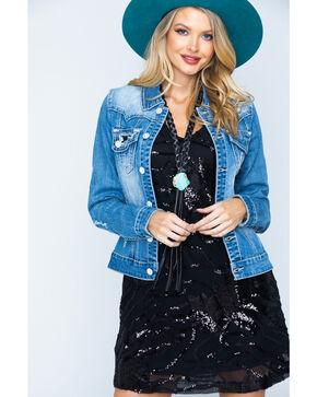 Rock & Roll Cowgirl Women's Light Wash Sequin Pocket Denim Jacket , Indigo, hi-res