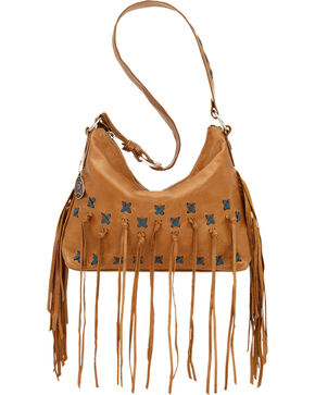 American West Golden Tan River Ranch Slouch Zip Top Shoulder Bag, Golden Tan, hi-res