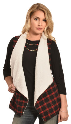 Derek Heart Women's Red and Black Plaid Sherpa Lined Waterfall Vest, Red, hi-res