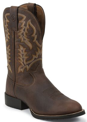 Tony Lama 3R Pitstop Cowboy Boots - Round Toe, Brown, hi-res