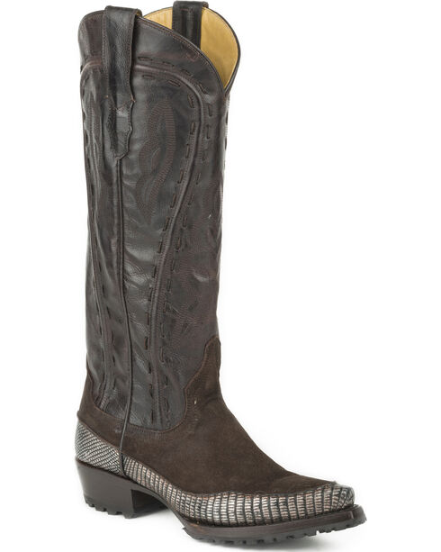 Stetson Women's Dakota Teju Lizard Fashion Western Boots - Snip Toe, Brown, hi-res