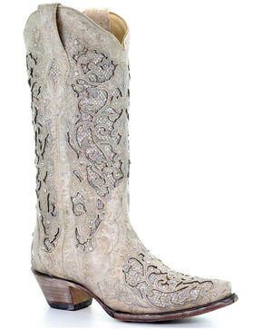 Corral Women's Glitter Inlay and Crystals Wedding Boots - Snip Toe, White, hi-res