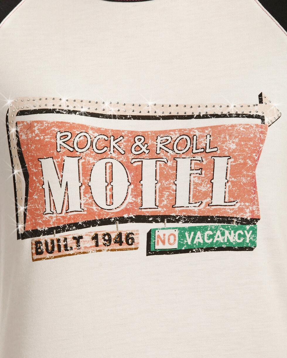 Rock & Roll Cowgirl Women's White Motel Sign Baseball Tee , White, hi-res
