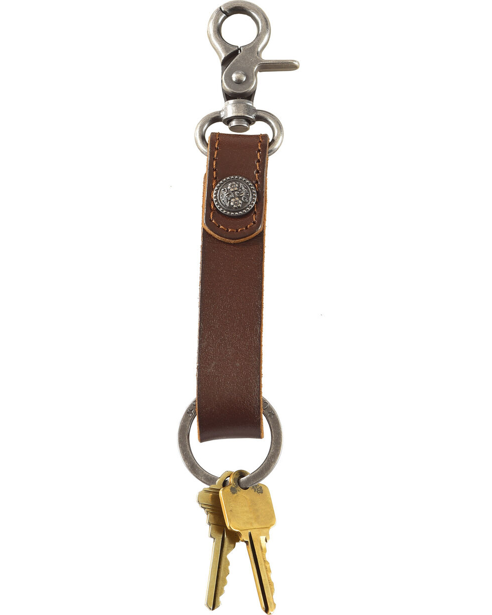 Cody James Leather Floral Concho Keychain, Brown, hi-res