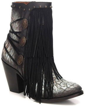 Corral Women's Black/Turquoise Fringe & Stud Ankle Boots - Round Toe, Black, hi-res