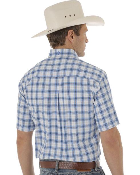 Wrangler Men's Blue and White Plaid 20X Short Sleeve Western Shirt , Blue, hi-res
