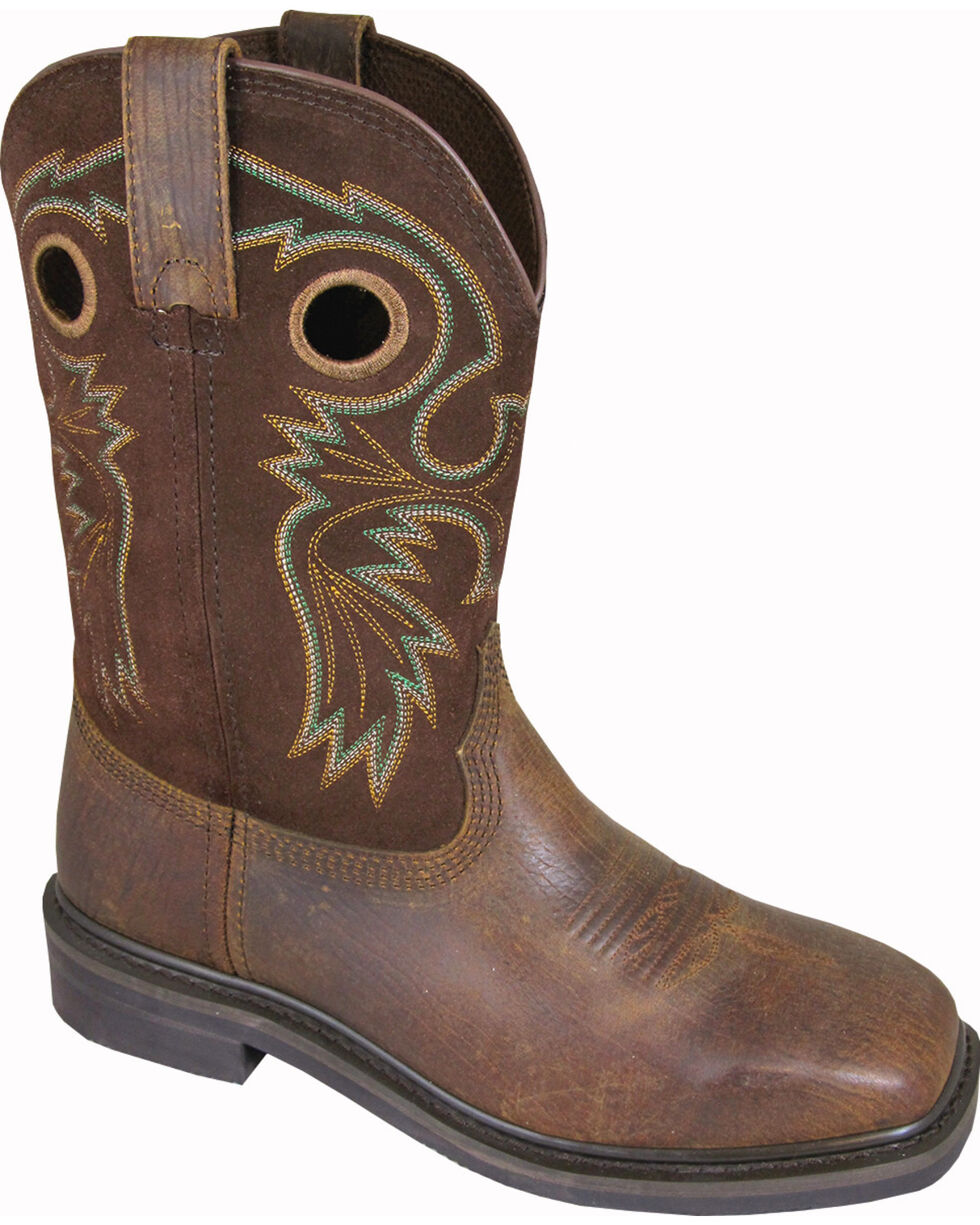 Smoky Mountain Men's Grizzly Leather Western Boots - Square Toe, Brown, hi-res