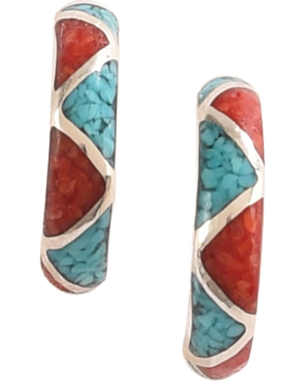 Silver Legends Women's Half Hoop Post Earrings , Turquoise, hi-res