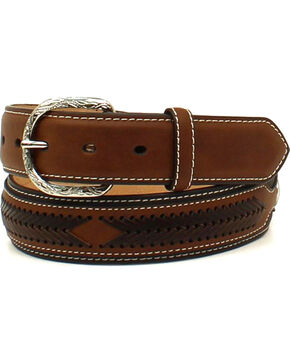 Nocona Men's Leather Laced Overlay Belt , Black, hi-res