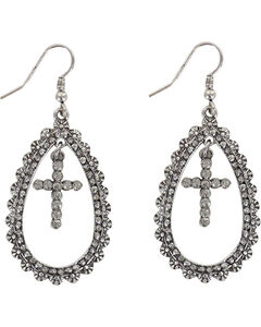 Shyanne Women's Cross Teardrop Earrings , Silver, hi-res