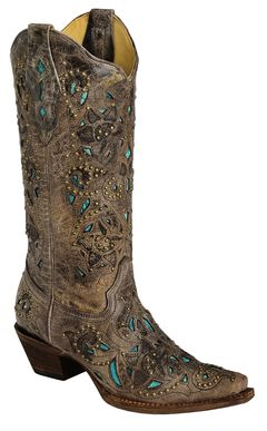 Corral Studded Turquoise Leather Inlay Cowgirl Boots - Snip Toe, , hi-res