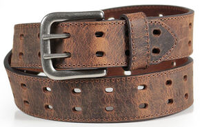 American Worker Men's Brown Crackle Leather Belt, Brown, hi-res