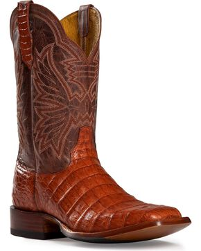 Cinch Classic Cognac Caiman Belly Mad Dog Cowboy Boots - Square Toe, Cognac, hi-res