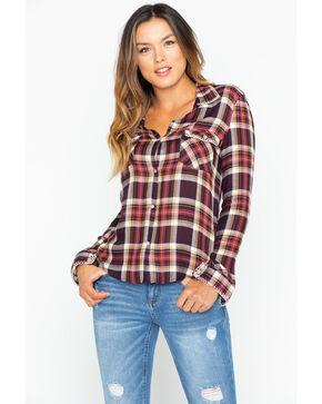 Ivory Love Women's Plaid Whipstitch Western Shirt , Burgundy, hi-res