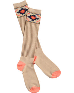 Catawba Women's Aztec Striped Knee-High Socks, Oatmeal, hi-res