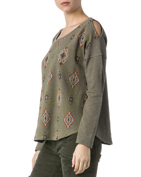 Miss Me Women's Olive Tribal Print Cold Shoulder Sweatshirt Top , Olive, hi-res
