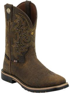 Justin Men's Dark Brown George Strait Waterproof Cowboy Boots - Square Toe , , hi-res