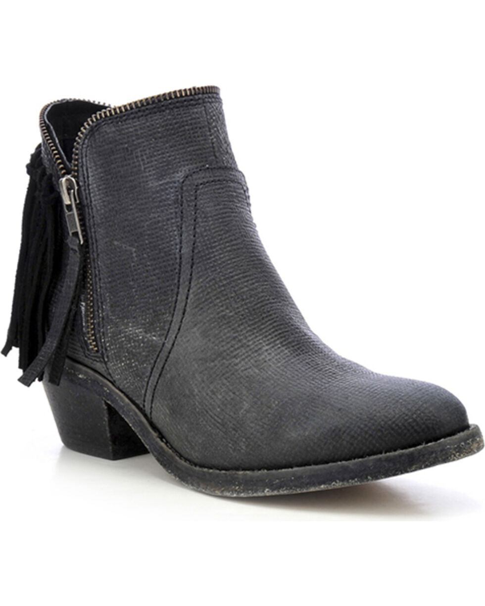 Circle G Fringe Zip Short Boots - Round Toe, Black, hi-res