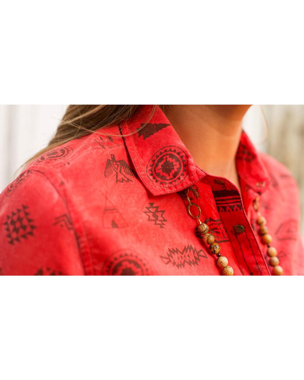 Ryan Michael Women's Tucson Motif Print Shirt , Red, hi-res