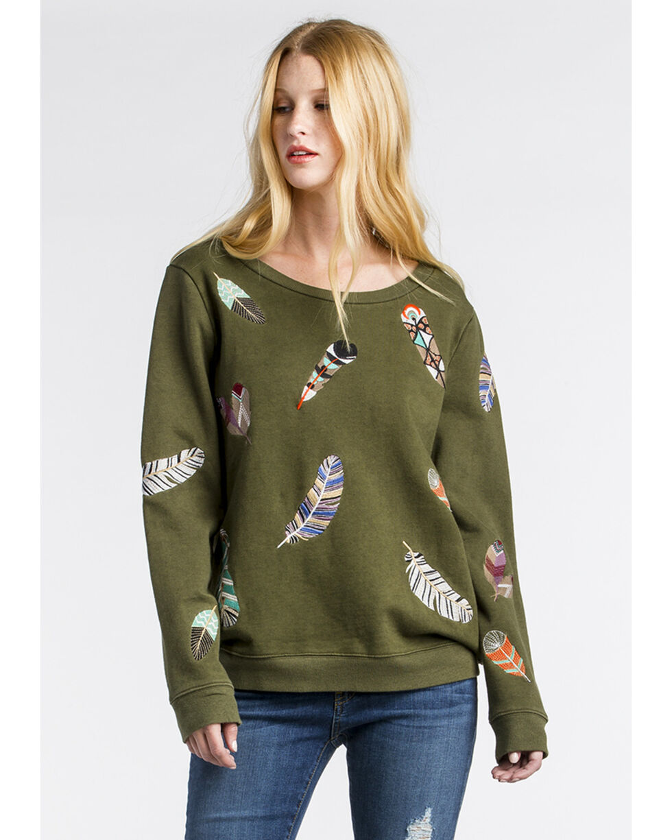 MM Vintage Women's Olive Feather Embroidered Sweatshirt , Olive, hi-res