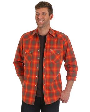 Wrangler Men's Orange Retro Plaid Shirt, Orange, hi-res