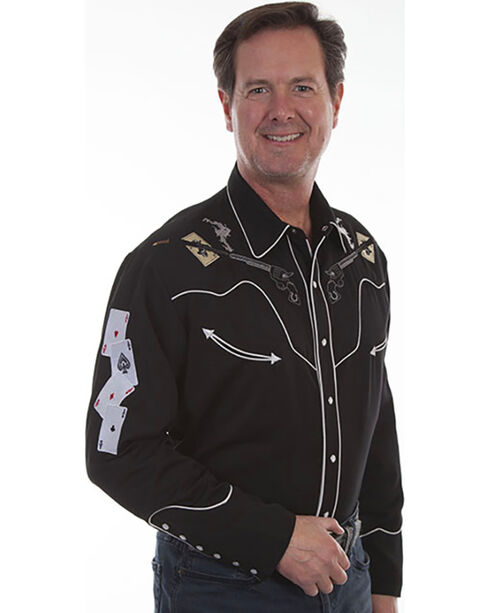 Scully Men's Pistols & Cards Embroidered Shirt , Black, hi-res