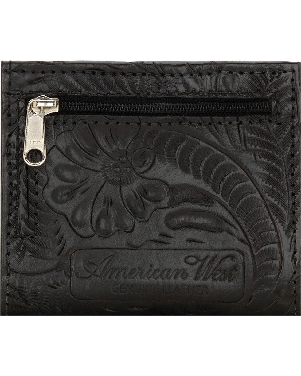 American West Boyfriend Ladies Black Bi-Fold Wallet, Black, hi-res