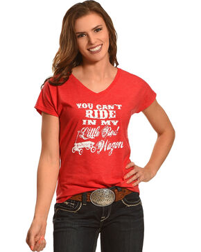 Cowgirl Justice Women's Red Wagon V-Neck Tee, Red, hi-res
