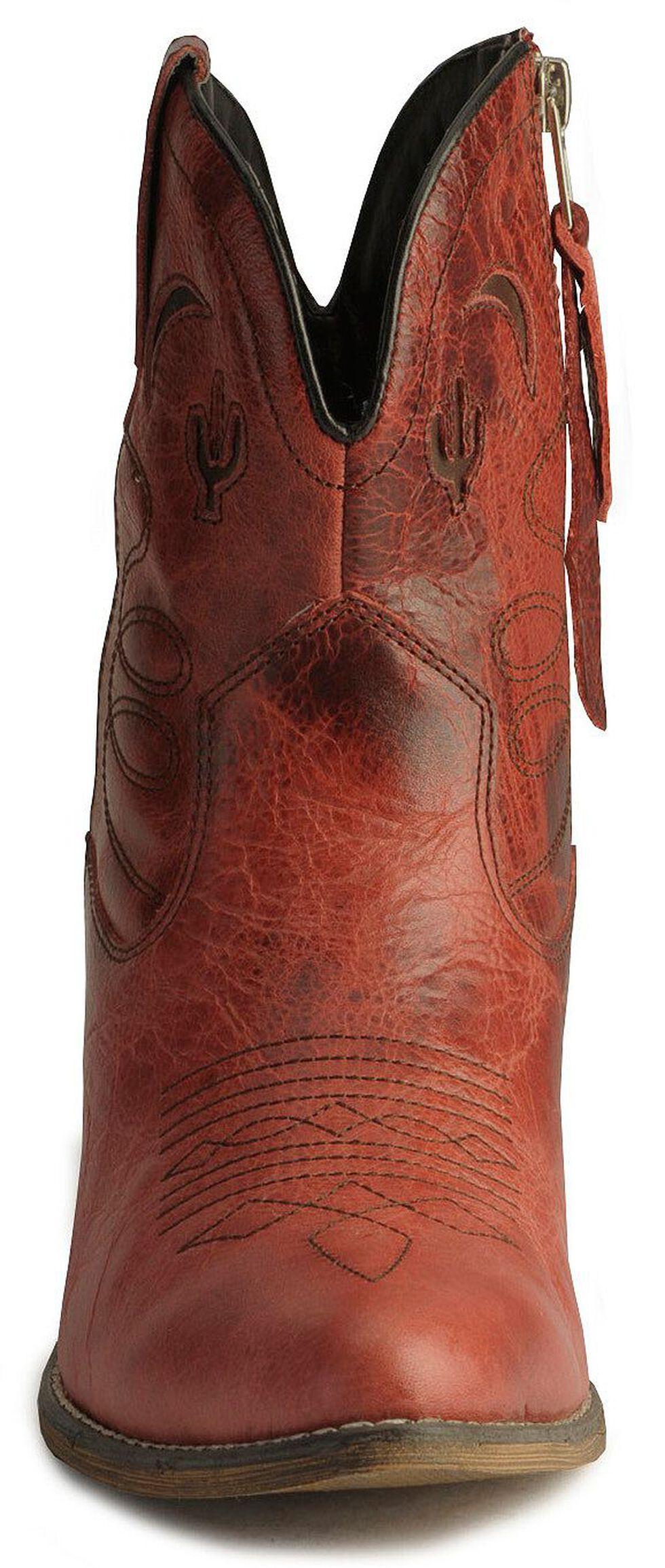Dingo Moon & Cactus Zipper Ankle Boots, Red, hi-res