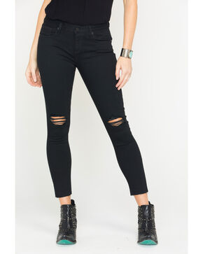 Miss Me Women's Black Destructed Ankle Skinny Jeans , Black, hi-res