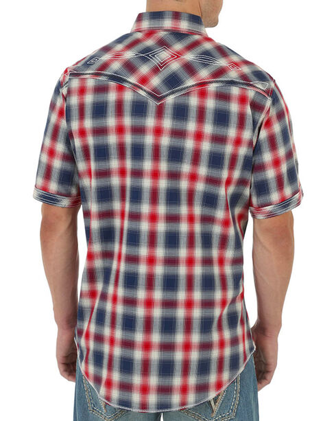 Rock 47 by Wrangler Men's Western Plaid Short Sleeve Shirt, Red, hi-res